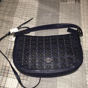 Coach Navy Floral Rivet Crossbody
